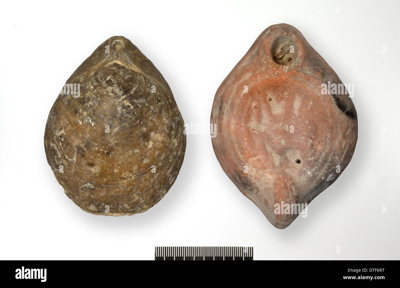 Brachiopodes fossiles et lampe romaine Photo Stock