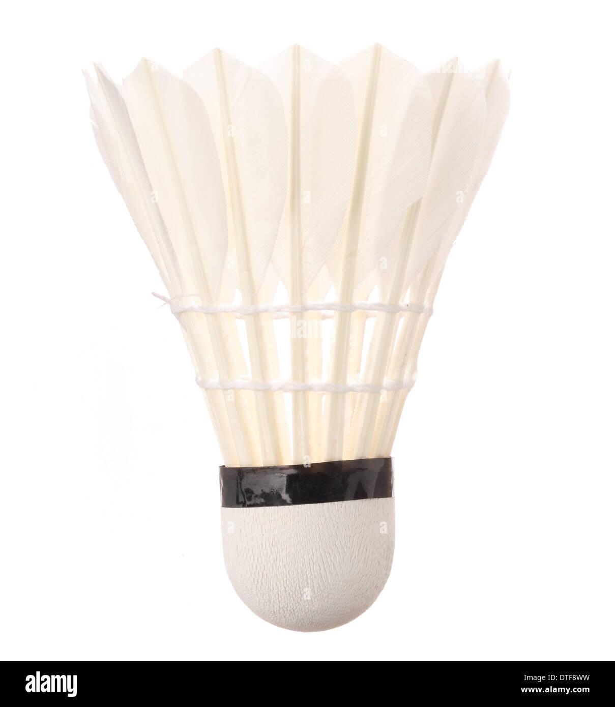 Un volant de badminton isolé sur fond blanc Photo Stock