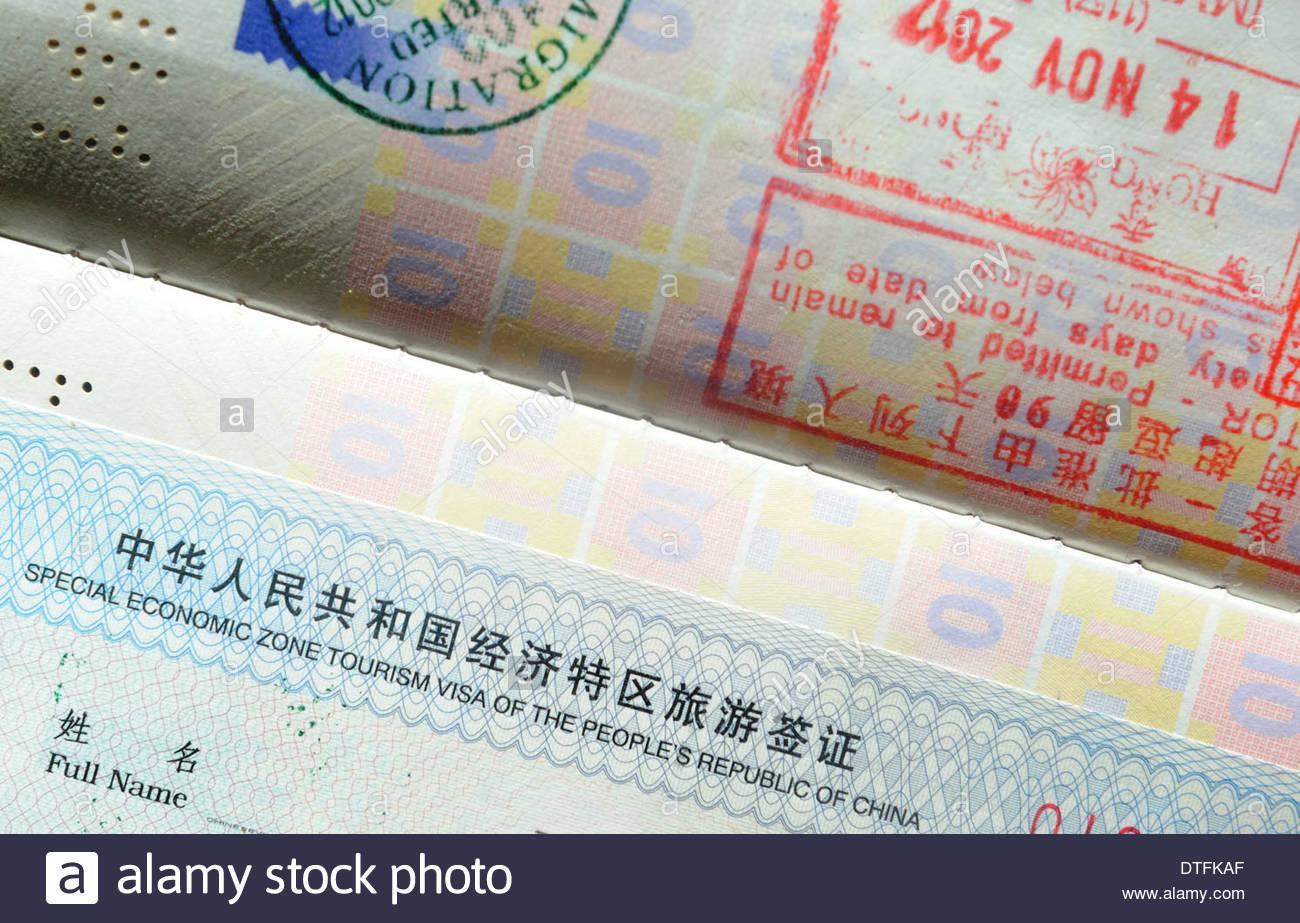 Visa touristique pour la zone économique de Shenzhen. Photo Stock