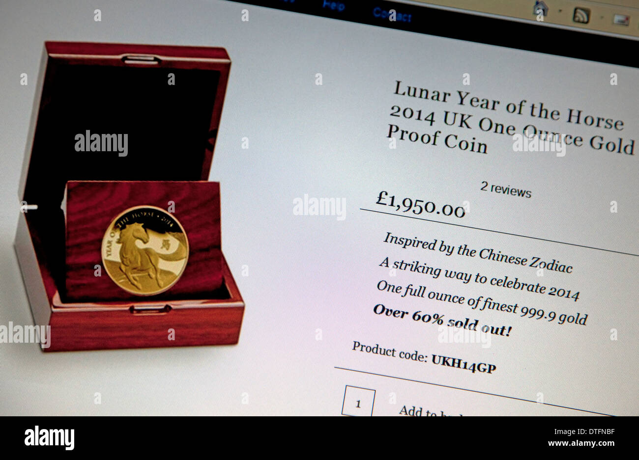 Monnaie royale Année de la pièce d'or de chevaux en vente sur l'Internet, Londres Photo Stock