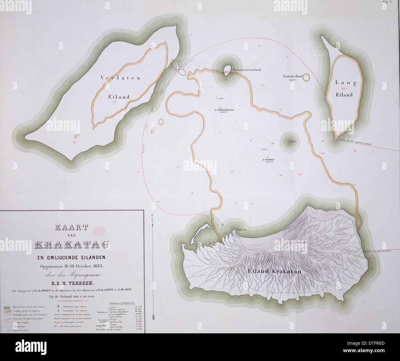 Carte de Krakatau Photo Stock