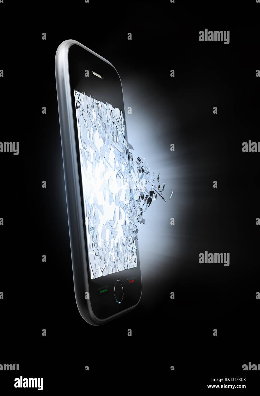 L'écran d'un téléphone intelligent d'être anéanti Photo Stock