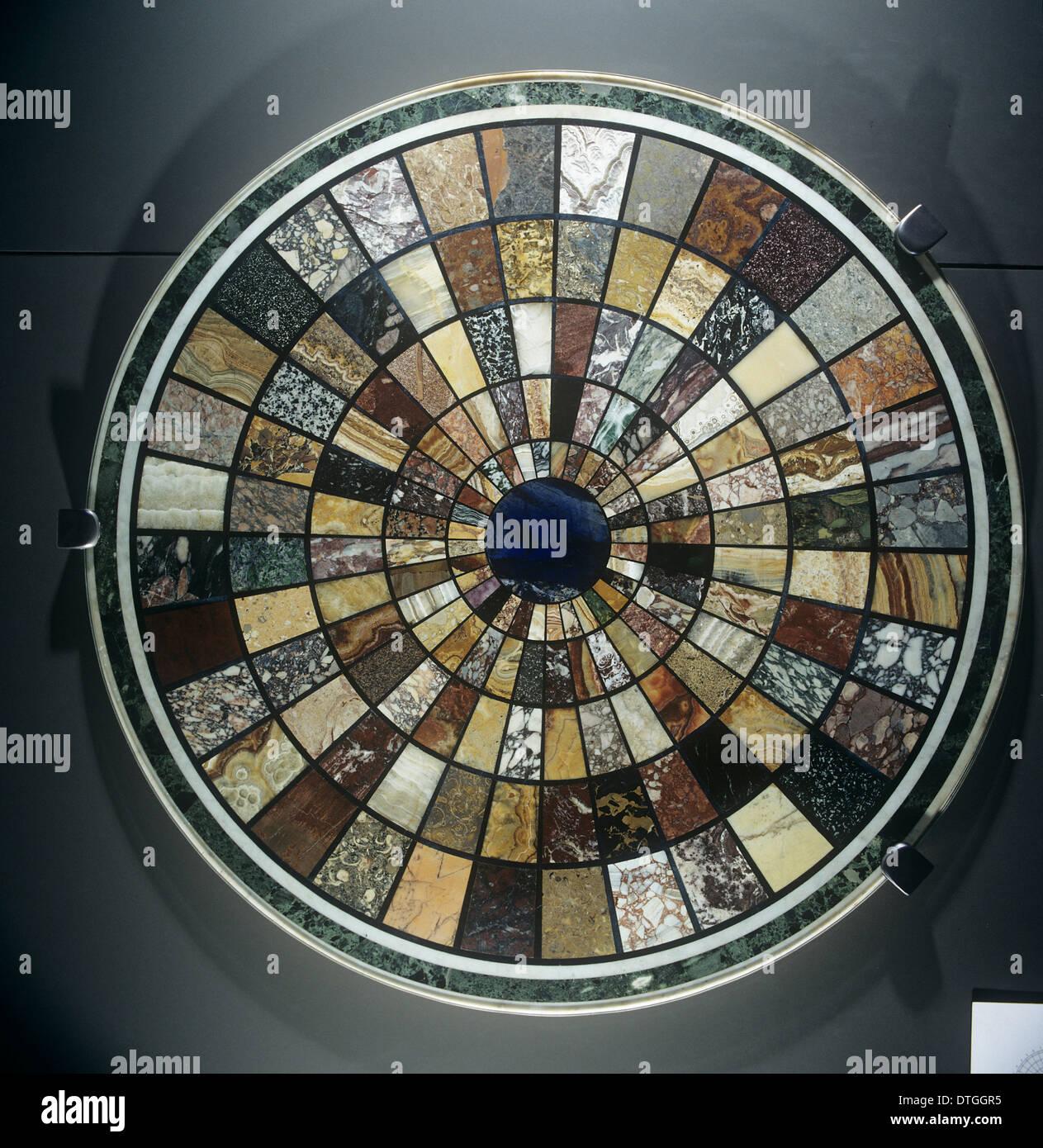 Haut de la table de marbre de la Rome antique Photo Stock