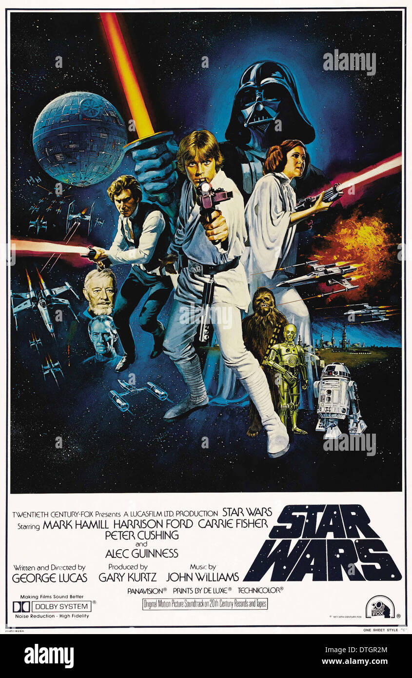 Affiche de film de Star Wars Episode IV : Un Nouvel Espoir 1977 American space opera épique film écrit et réalisé par George Lucas Photo Stock