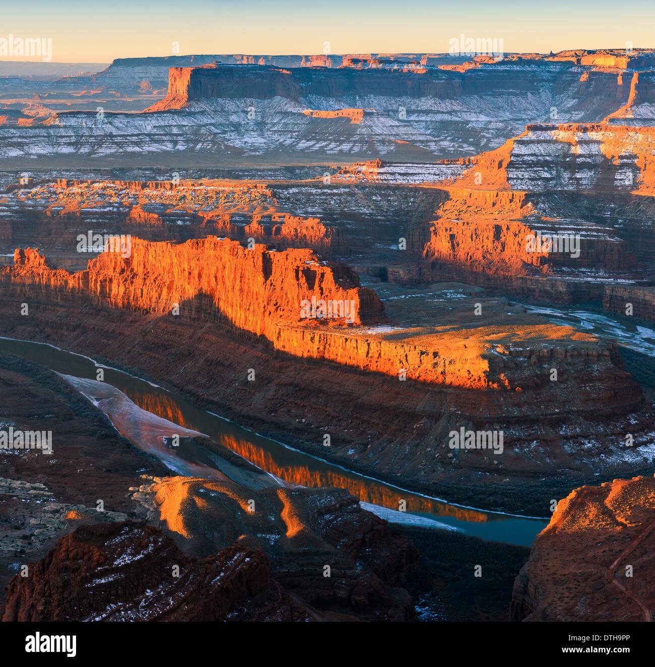 Lever du soleil d'hiver Dead Horse Point State Park, Utah - USA Banque D'Images