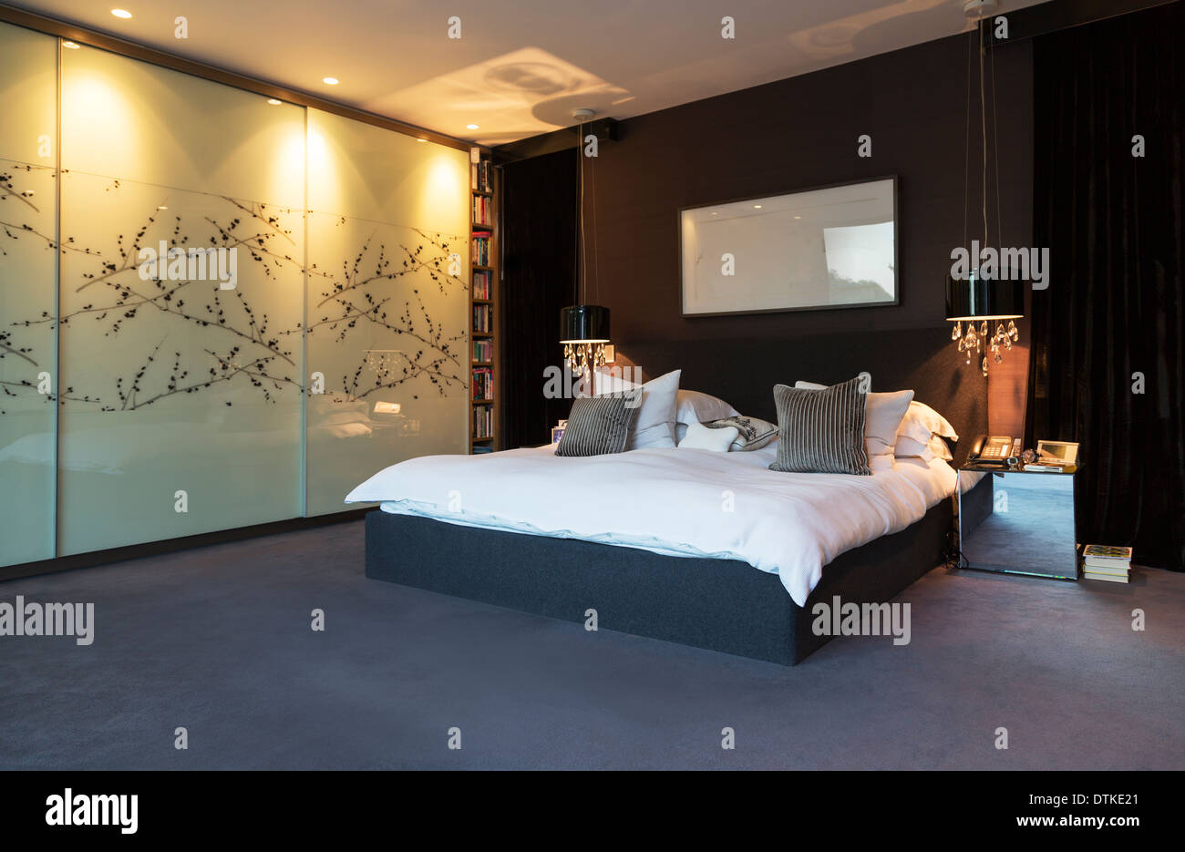 L'art de mur de chambre à coucher moderne Photo Stock