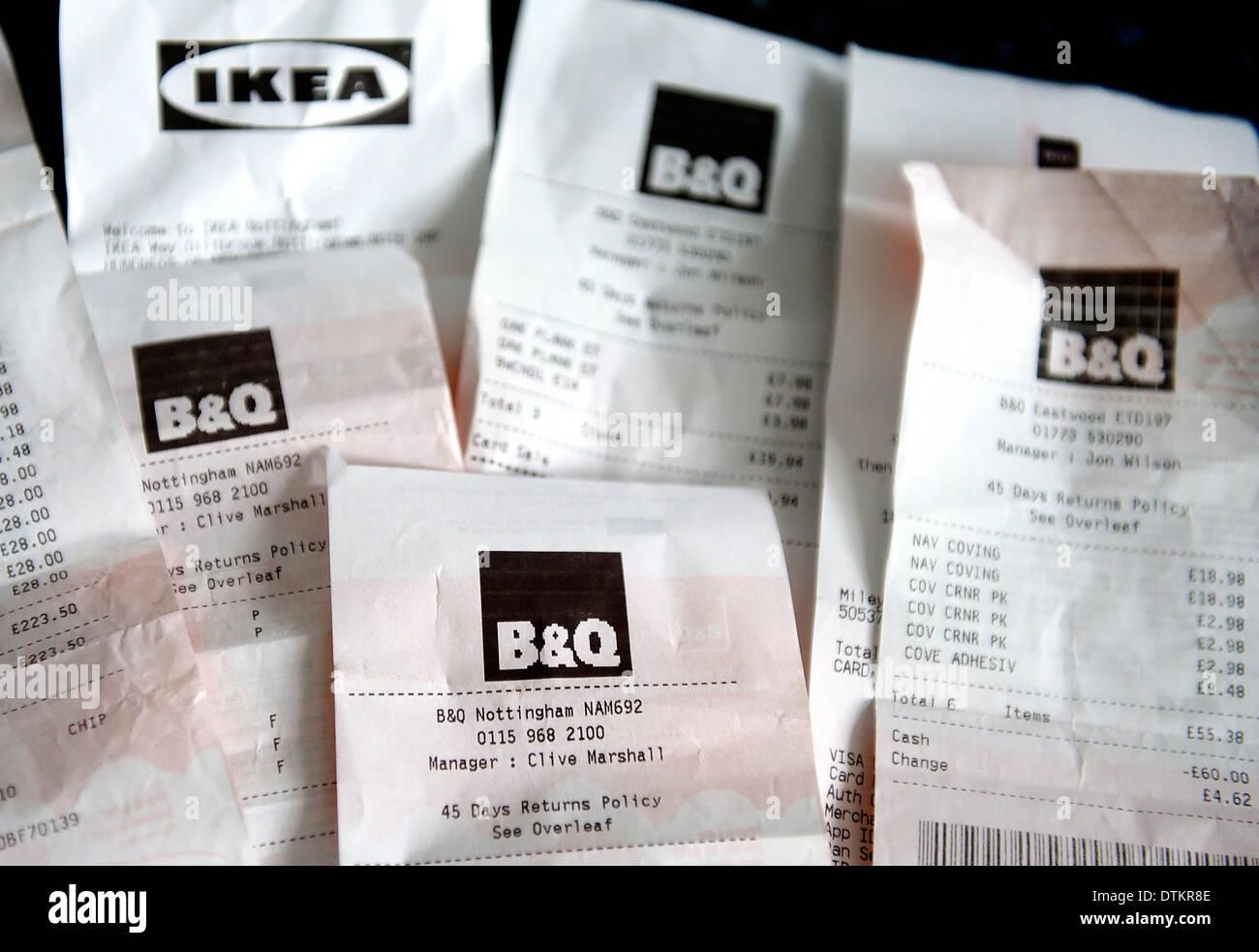 Les reçus d'achats Ikea et B & Q Photo Stock