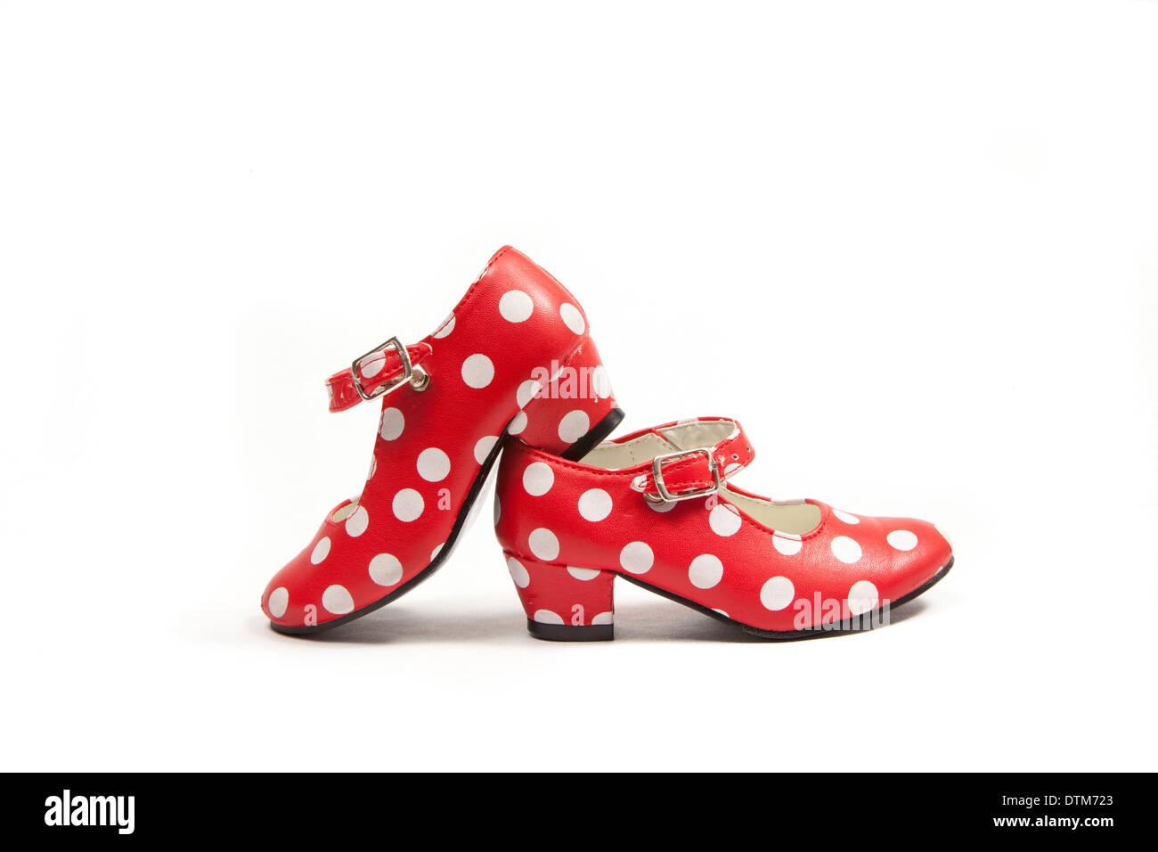 Deux chaussures de danse flamenco utilisé à pois. Photo Stock