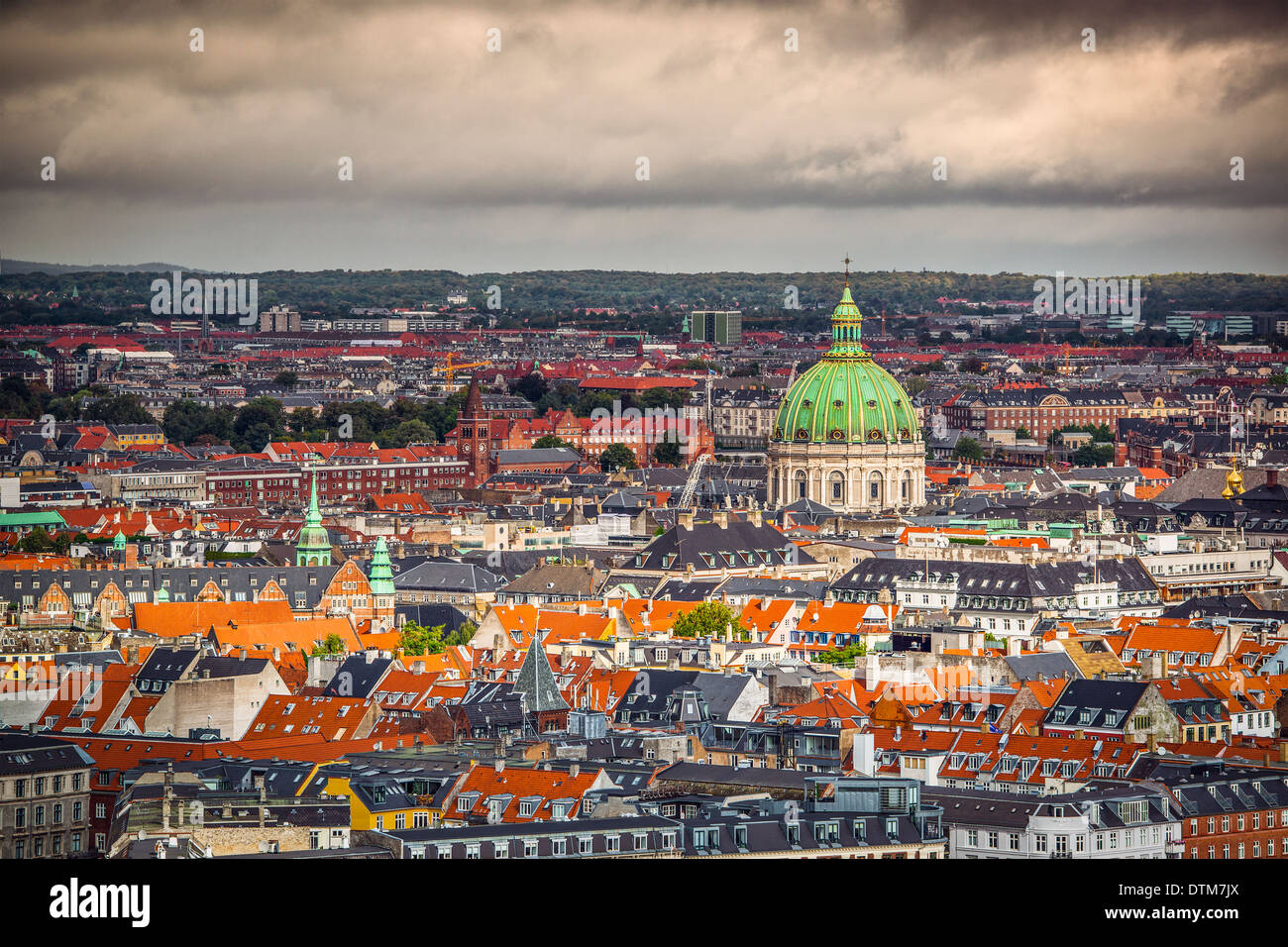 Copenhague, Danemark cityscape à l'église de marbre. Photo Stock