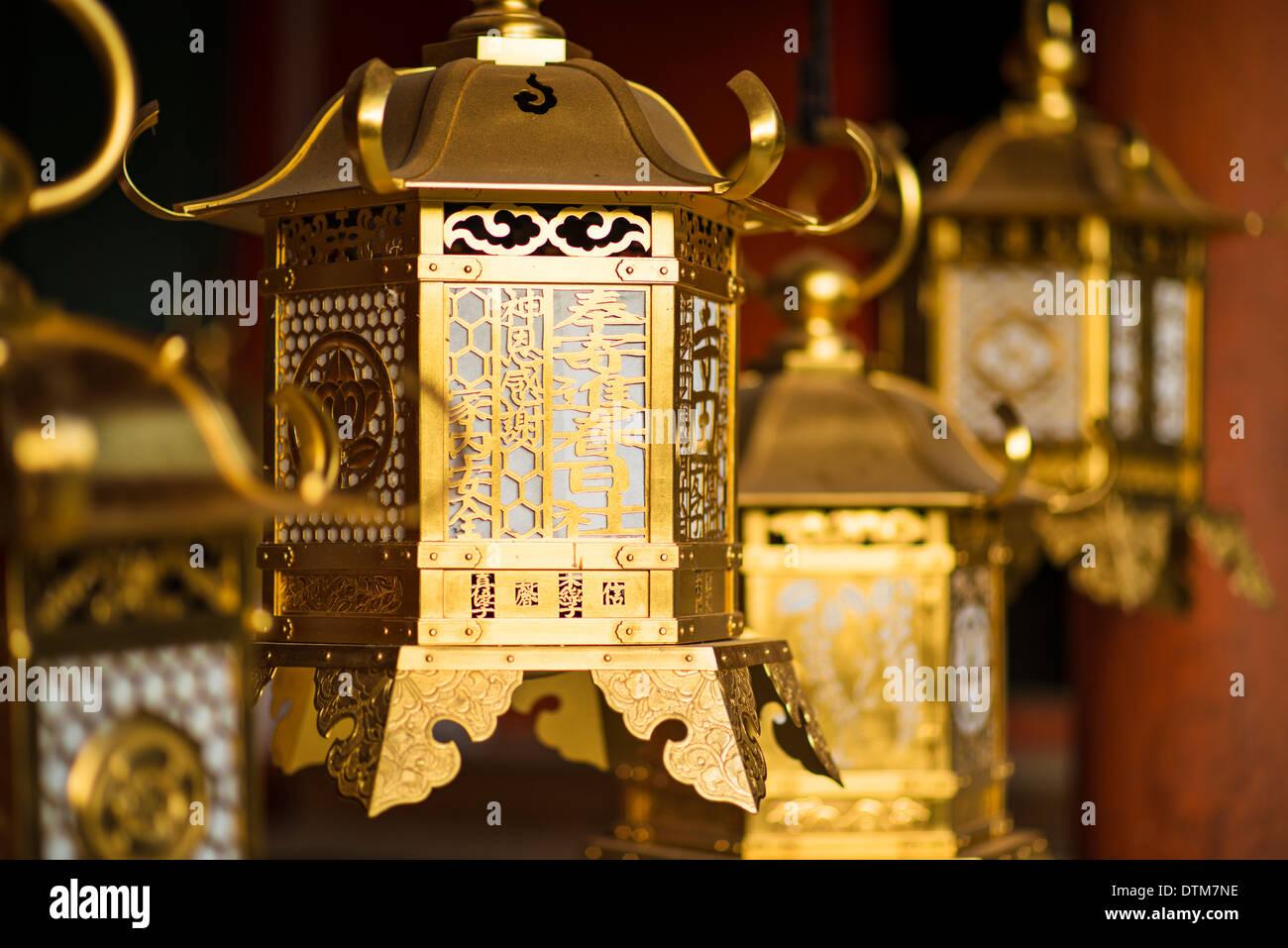 Nara, Japon. Lanternes japonaises à Kasuga-Taisha. Photo Stock