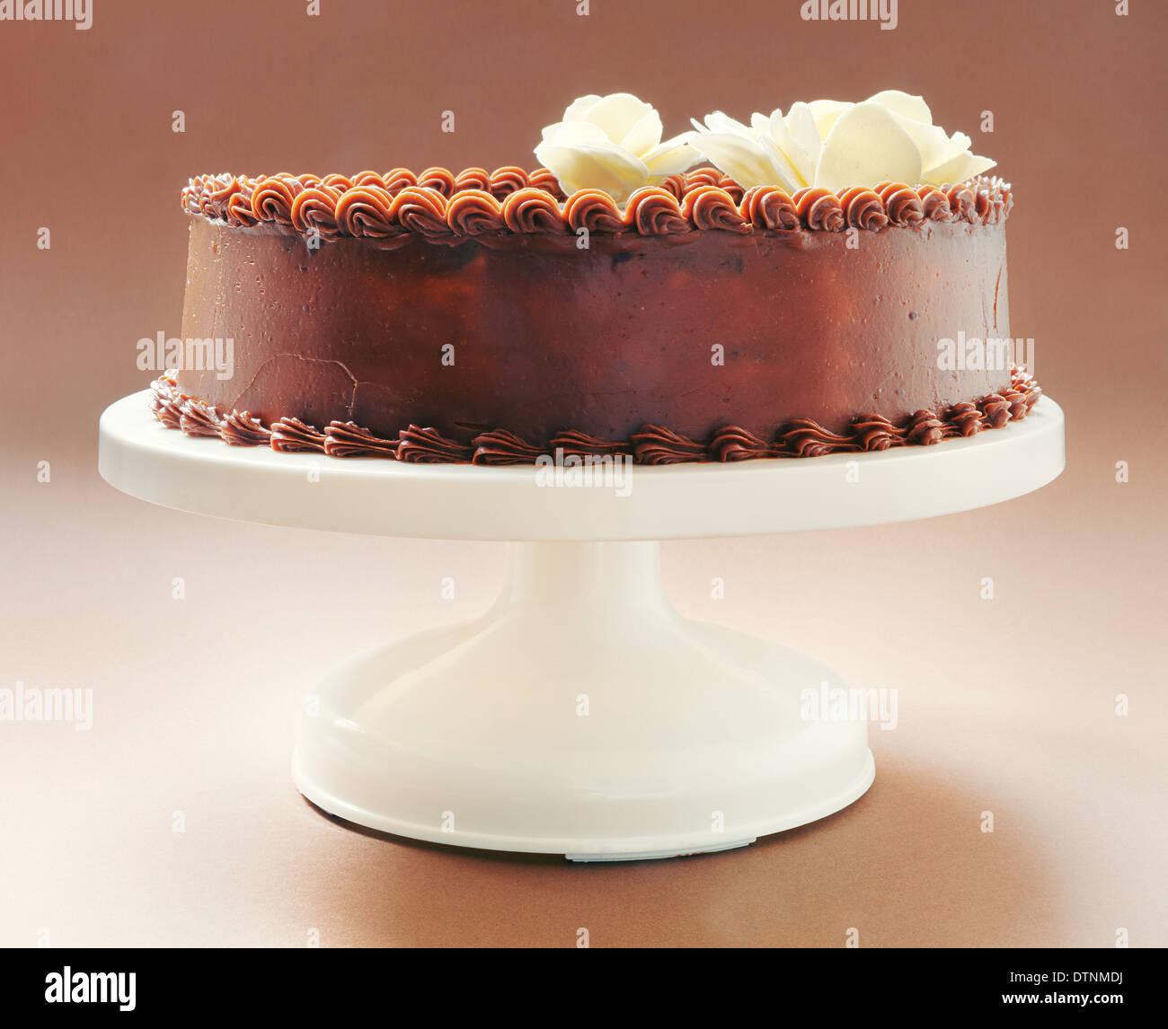Gâteau tout chocolat, sur fond brun, décoré avec des fleurs jaunes sur le dessus. Banque D'Images