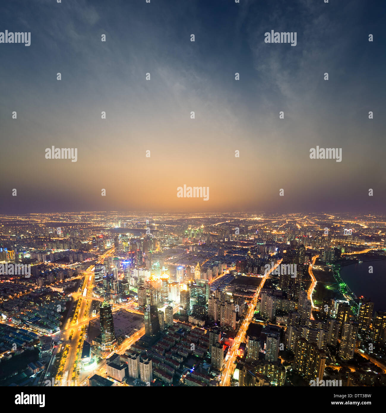 Shanghai metropolis at night Photo Stock