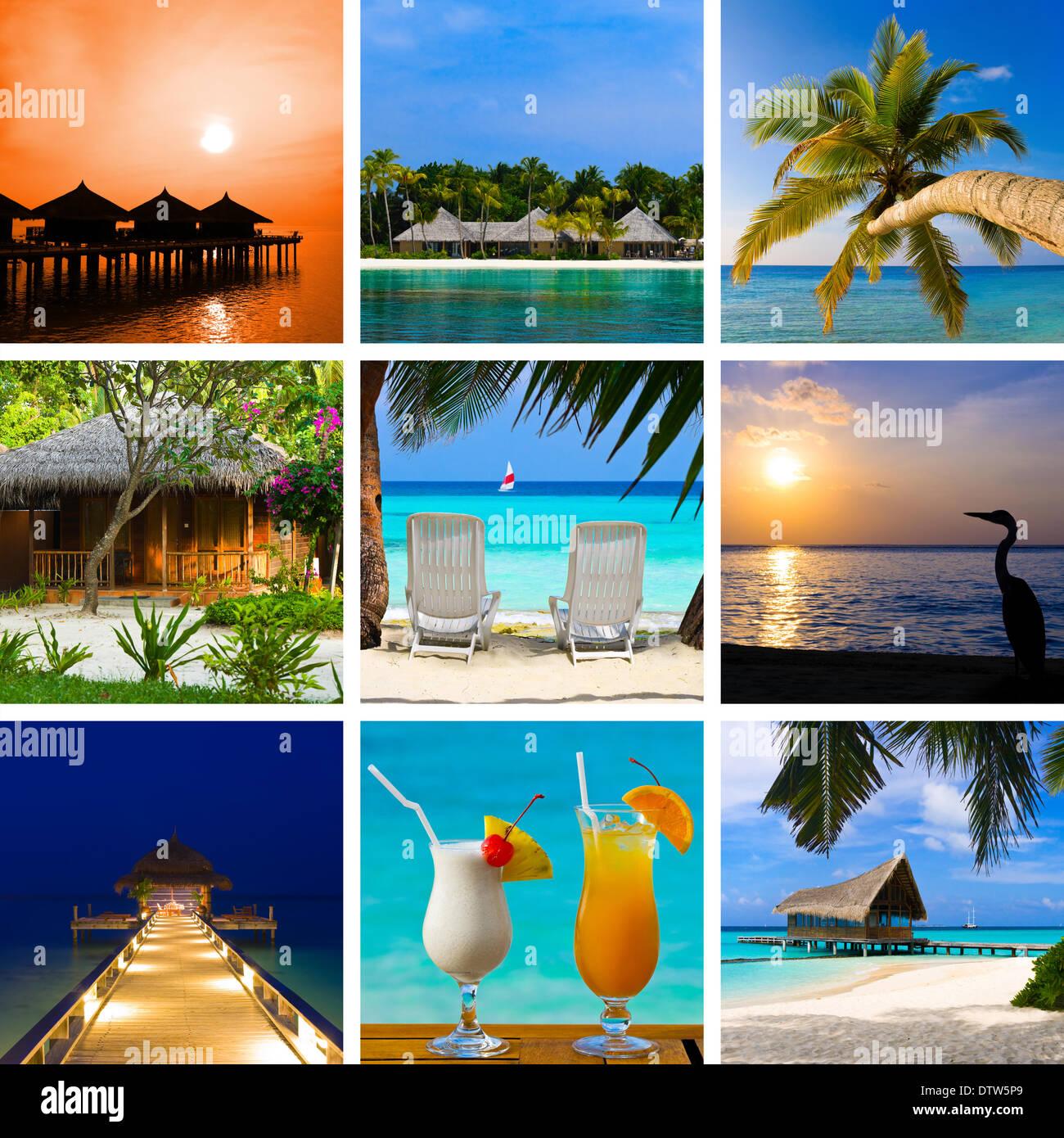 Collage d'images maldives plage d'été Photo Stock