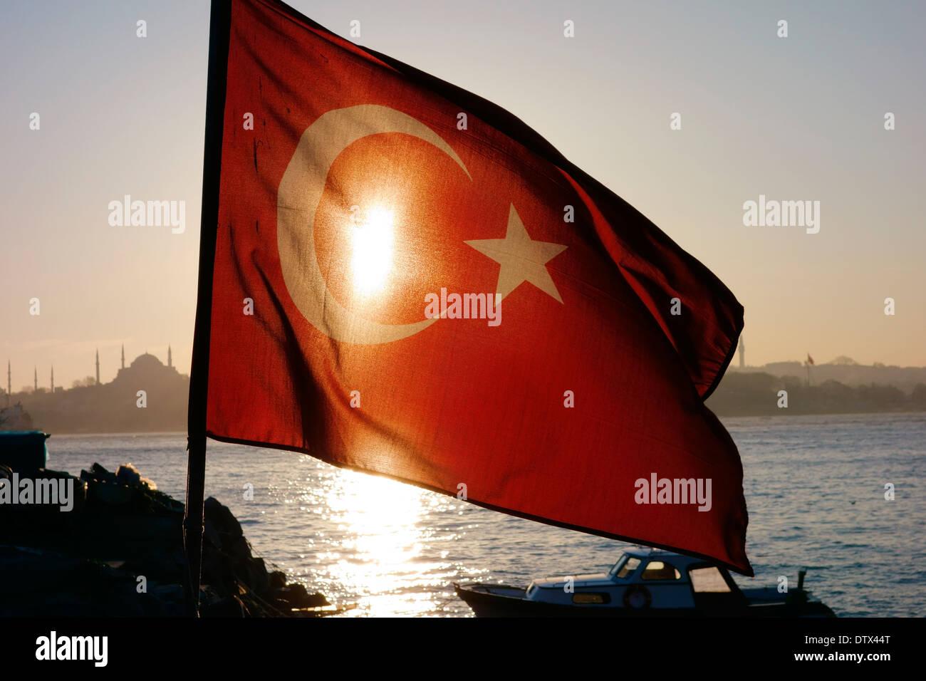 Drapeau turc, Istanbul Photo Stock