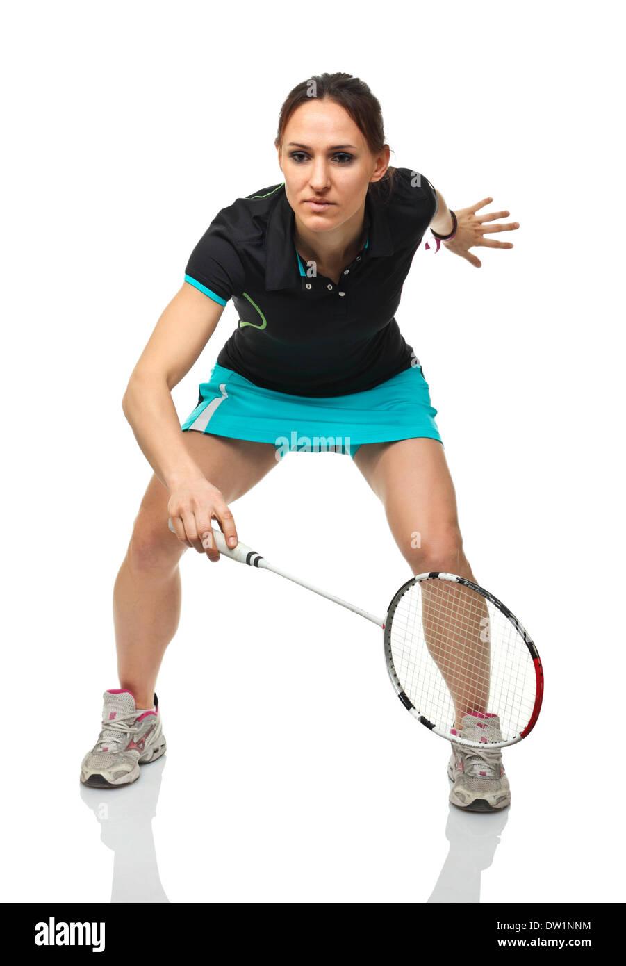 Portrait de joueur de badminton Photo Stock