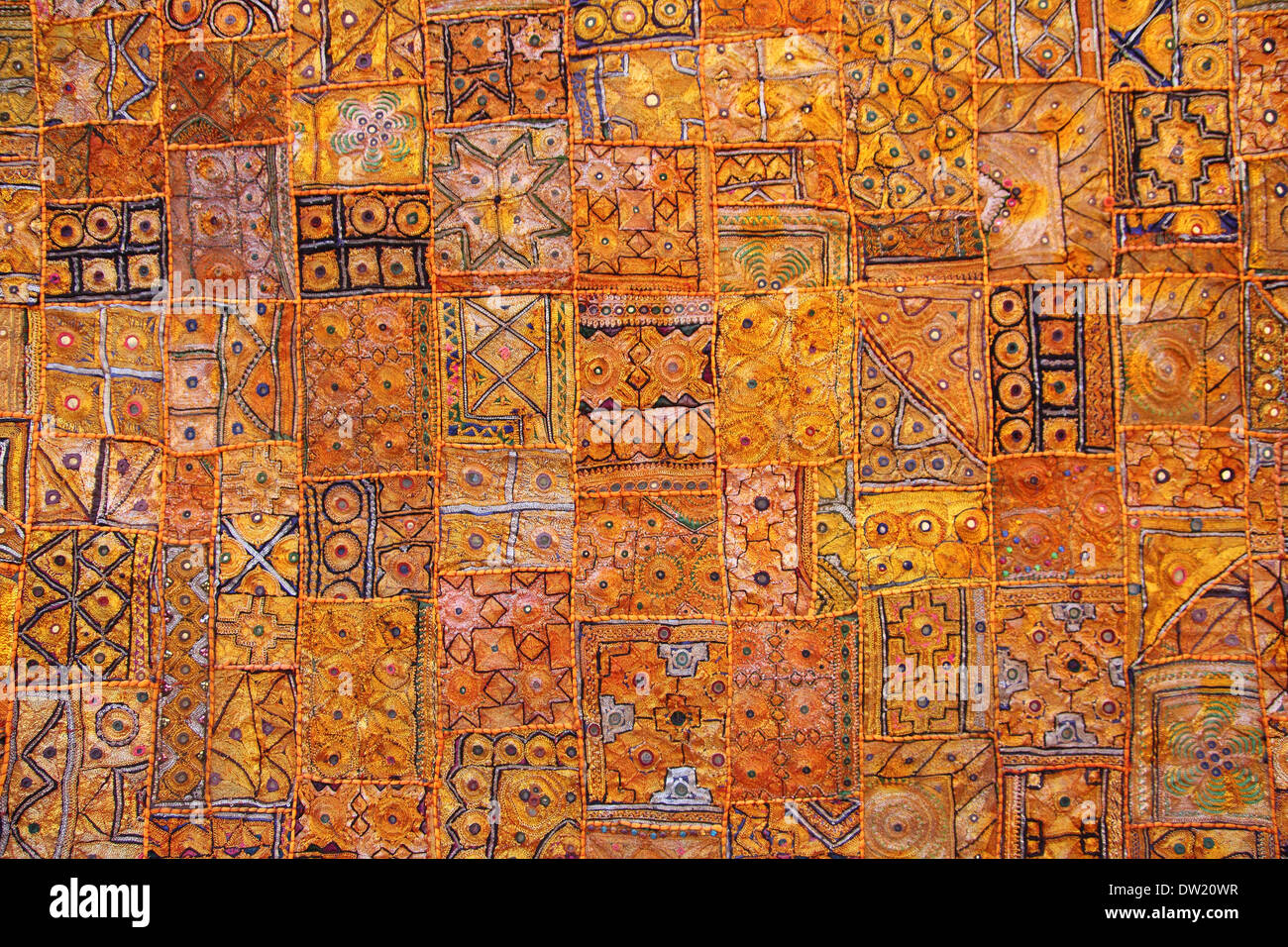 Tissu patchwork fond de l'Inde Photo Stock