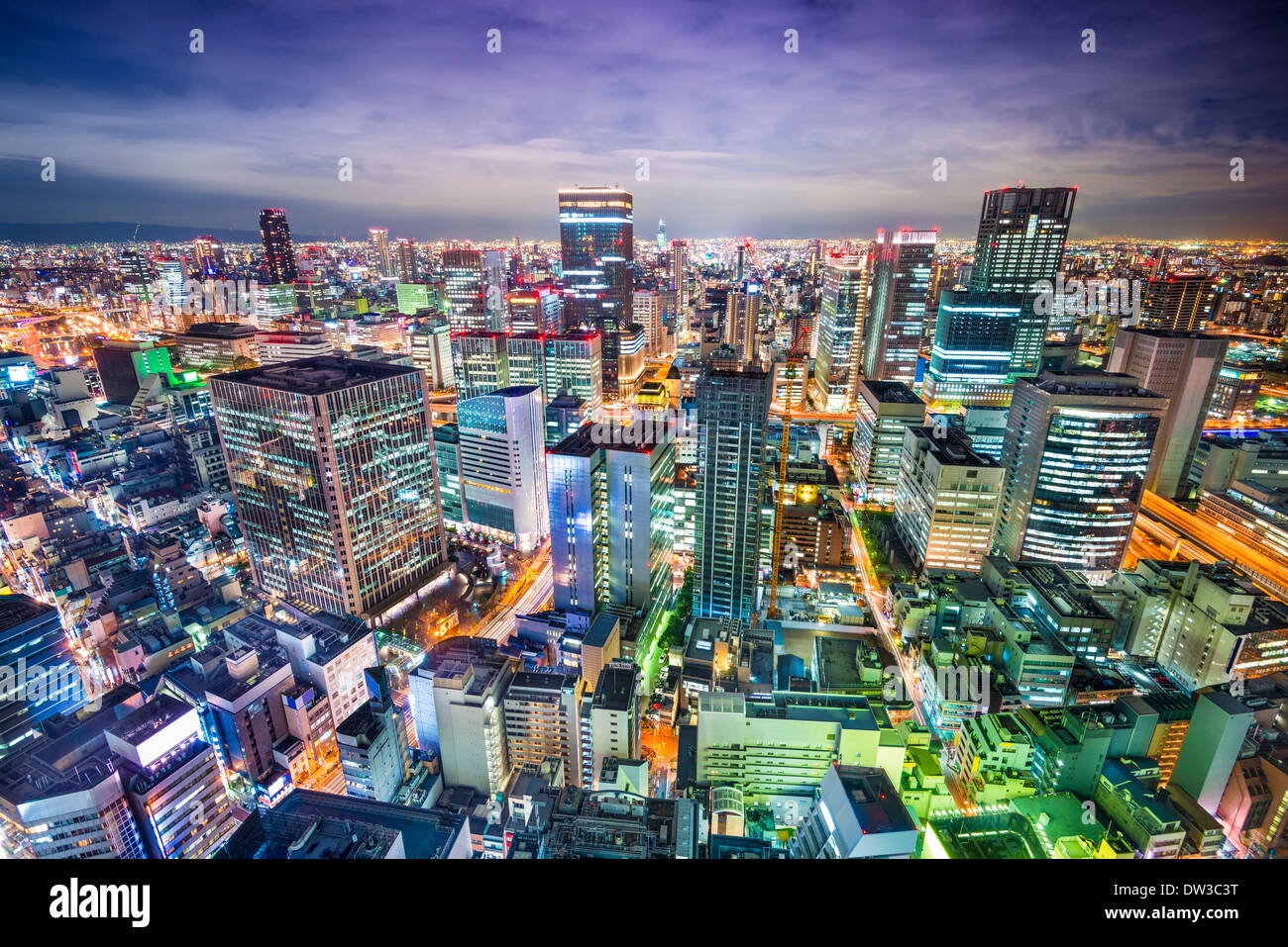 Osaka Japon aerial cityscape Photo Stock