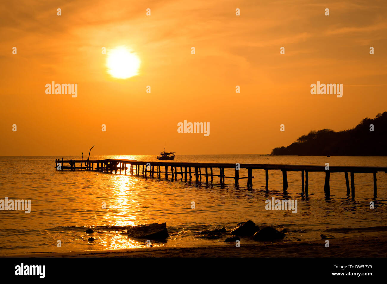 Tropical Beach at sunset Photo Stock