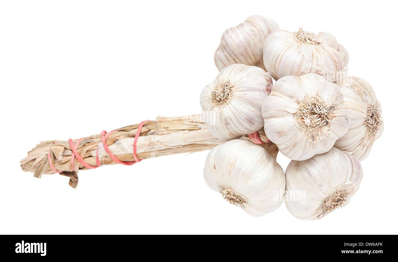 L'ail bouquet isolé sur fond blanc Photo Stock
