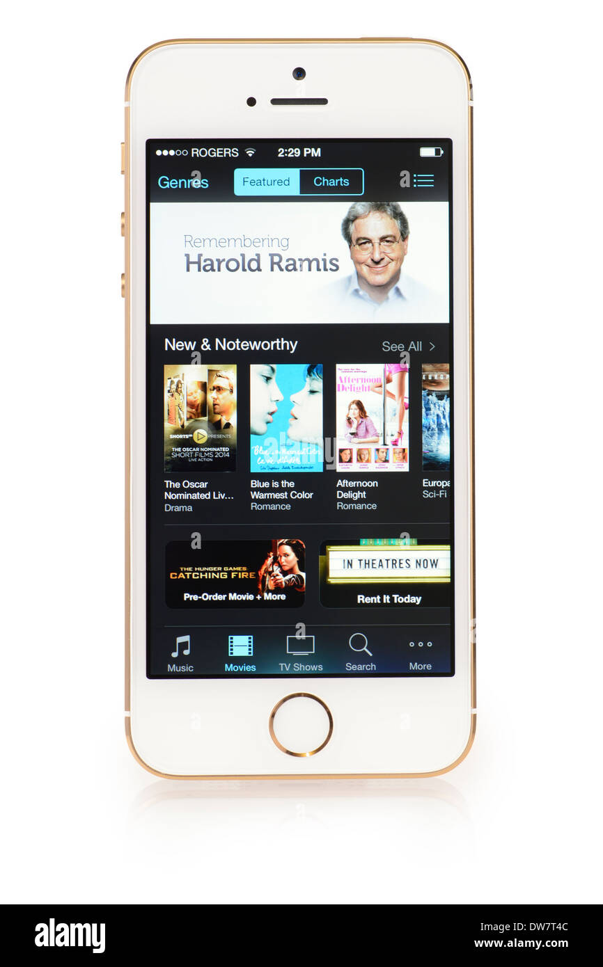 Menu des films sur iTunes sur iPhone 5S, iPhone 5 S Movie Store Photo Stock