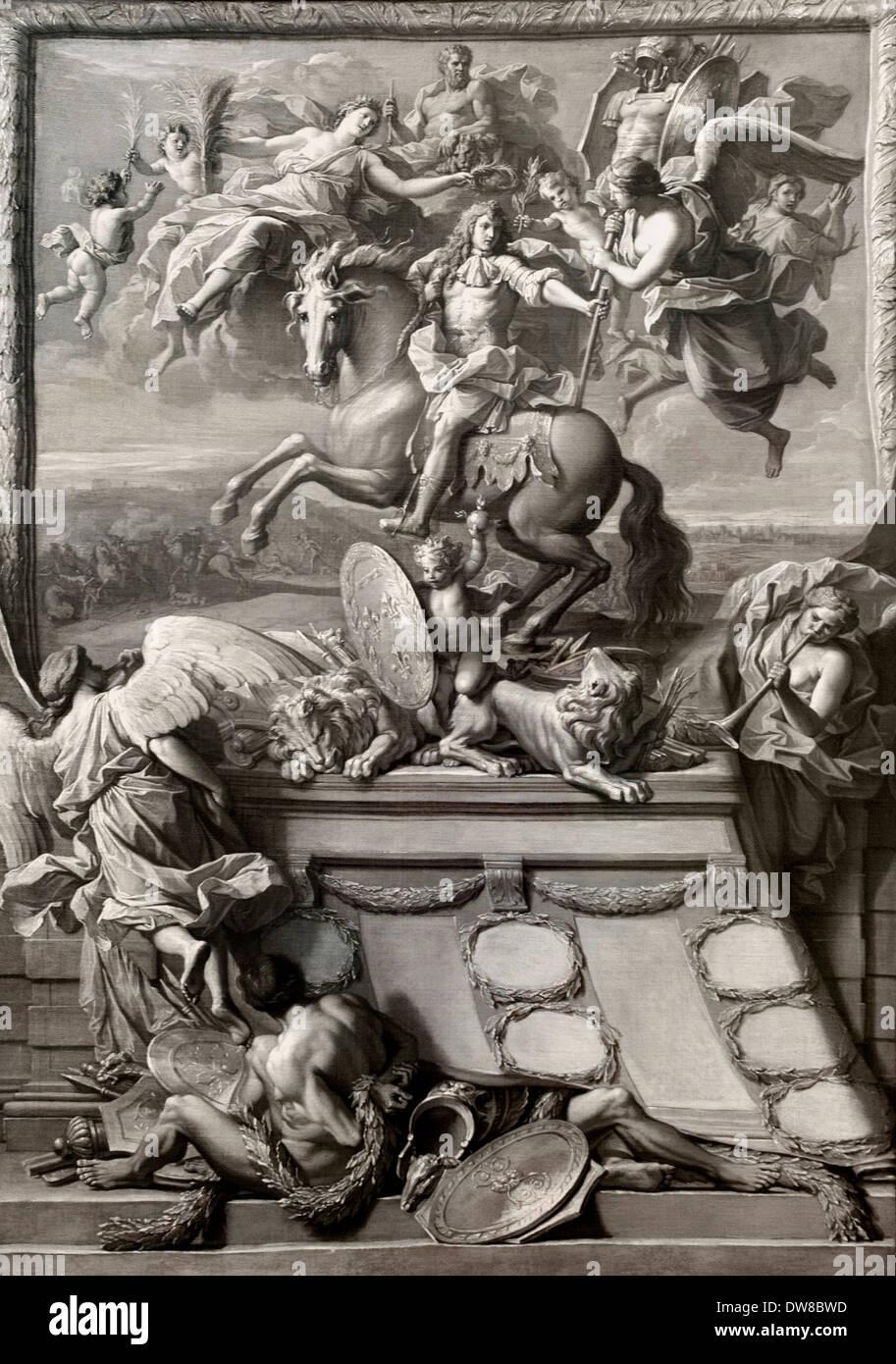 Modèle pour une thèse feuille avec la glorification du duc Philippe d'Orléans1678 Noël Coypel 1628 - 1707 France Photo Stock