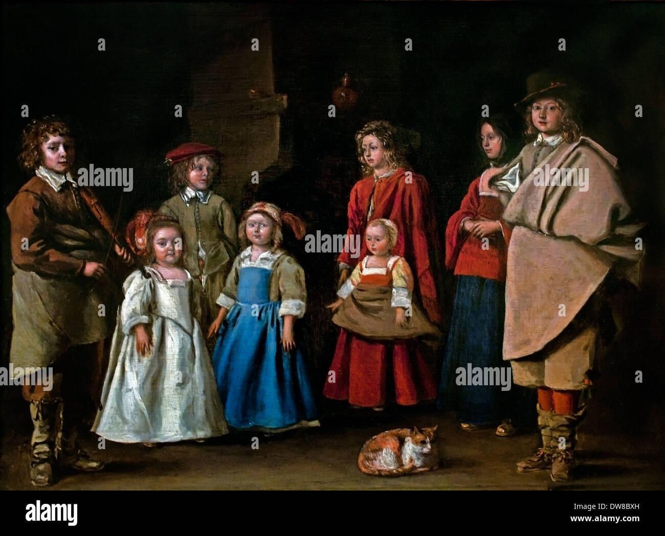 Préparation pour la classe de danse en 1643 Antoine Le Nain Français France 1588-1648 Photo Stock