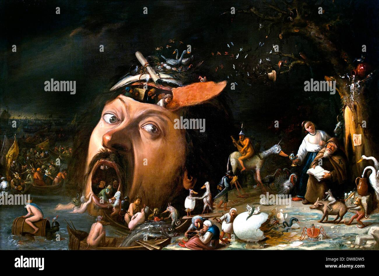 La Tentation de Saint Antoine 1650 Joos van Craesbeeck 1605 - 1661 Belgique belge flamande Photo Stock