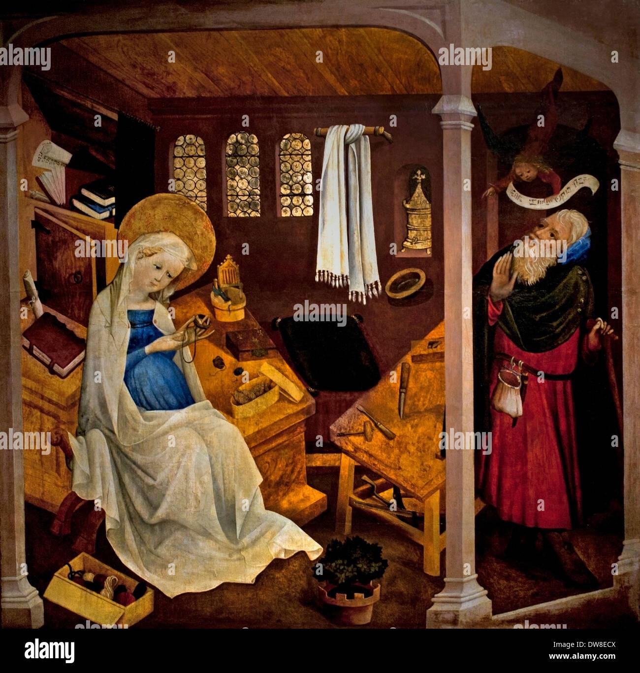 Le doute de Joseph 1430 Maitre du Jardin de Paradis - Maître de le jardin du Paradis Strasbourg France Français Photo Stock