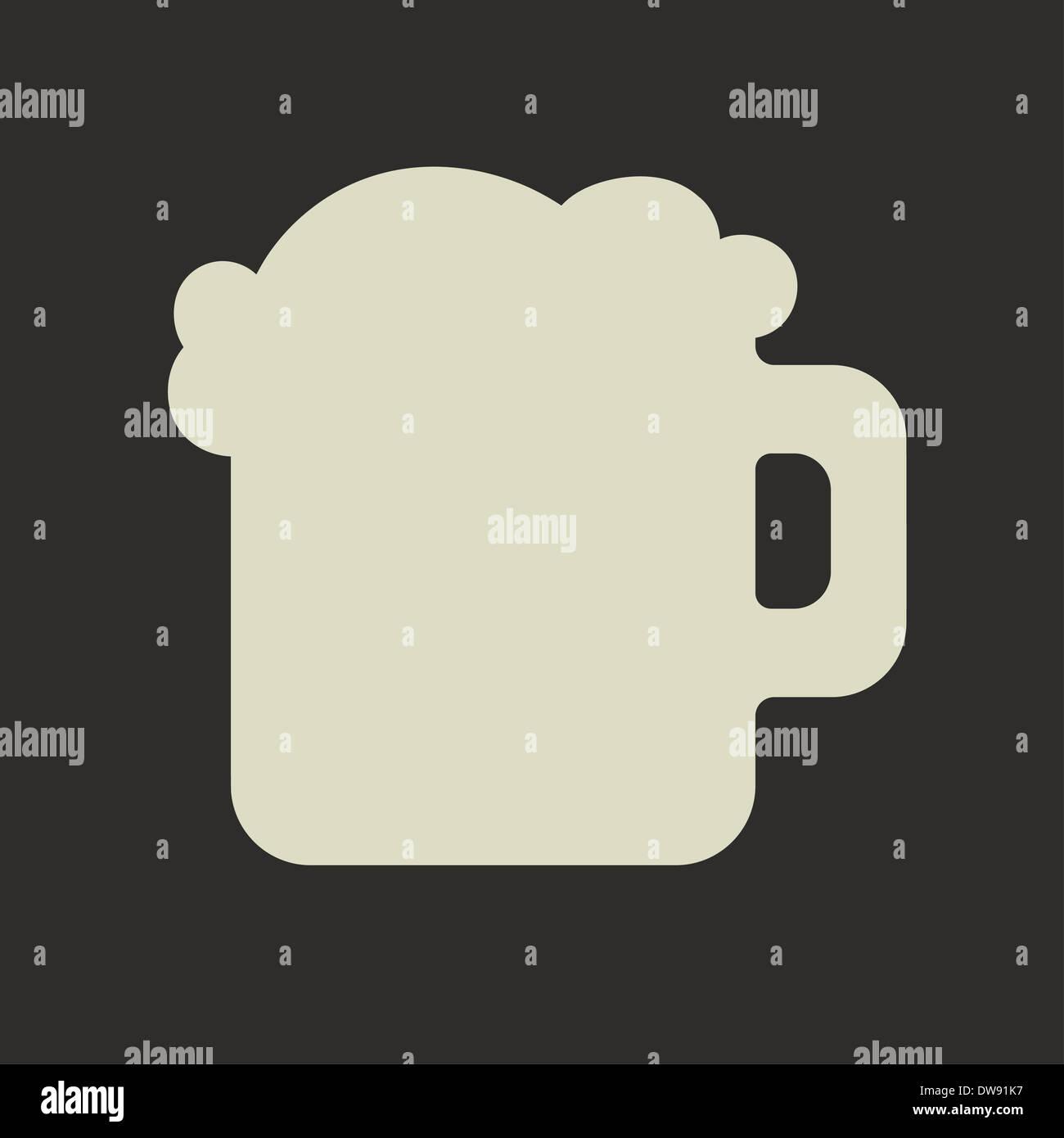 Silhouette stylisée de mug en verre avec la bière verte et la mousse Photo Stock