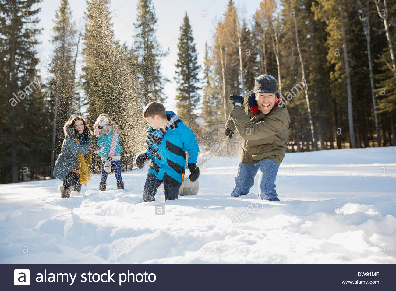 Famille ludique having snowball fight Photo Stock