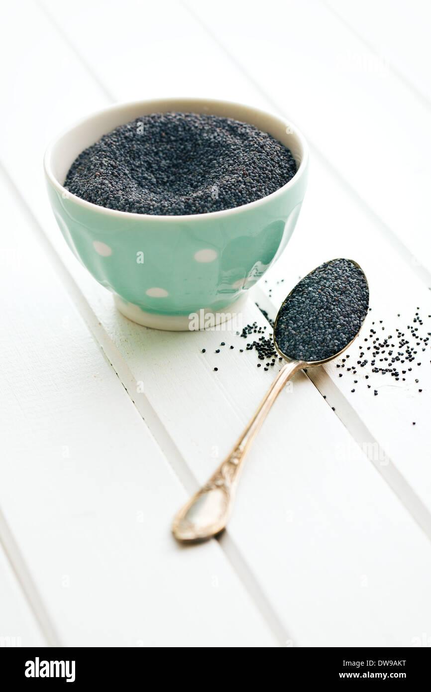 Les graines de pavot Graines de Silver Spoon Photo Stock