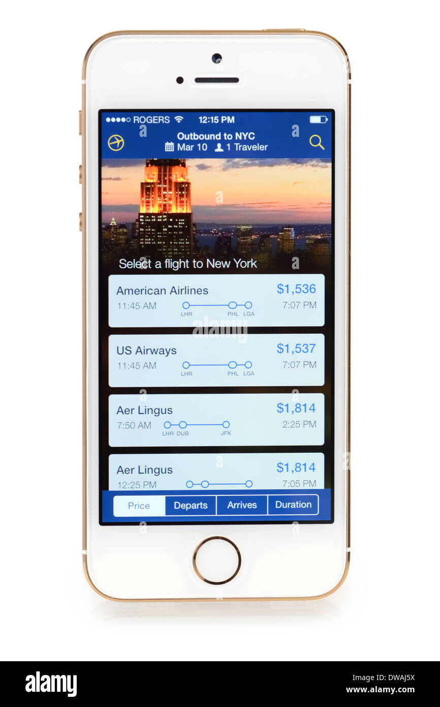 Expedia App installée sur l'iPhone 5S, Apple applications gratuites pour iPhone 5 S Photo Stock