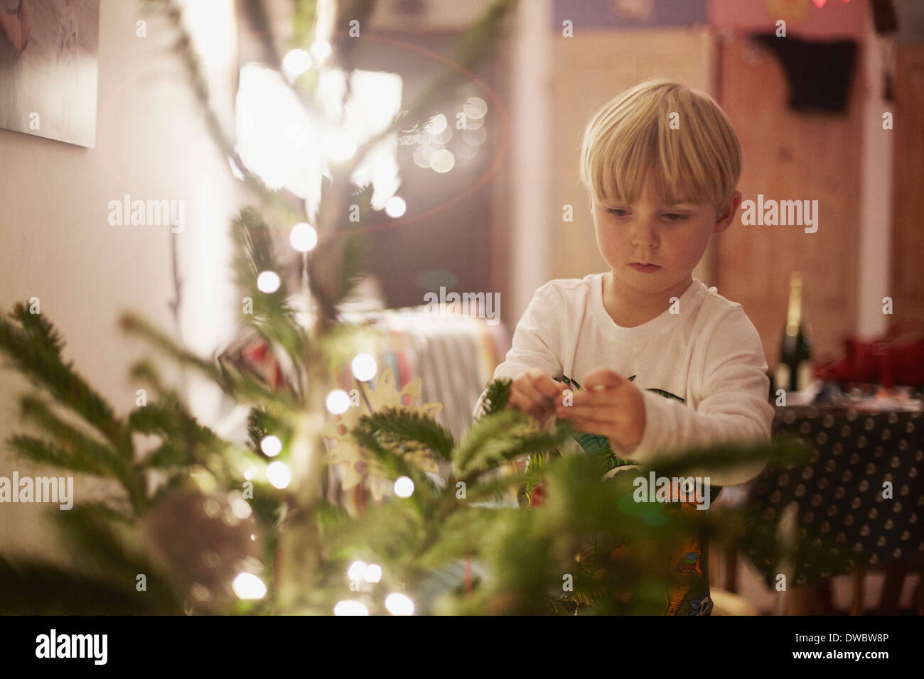 Young boy decorating Christmas Tree Photo Stock