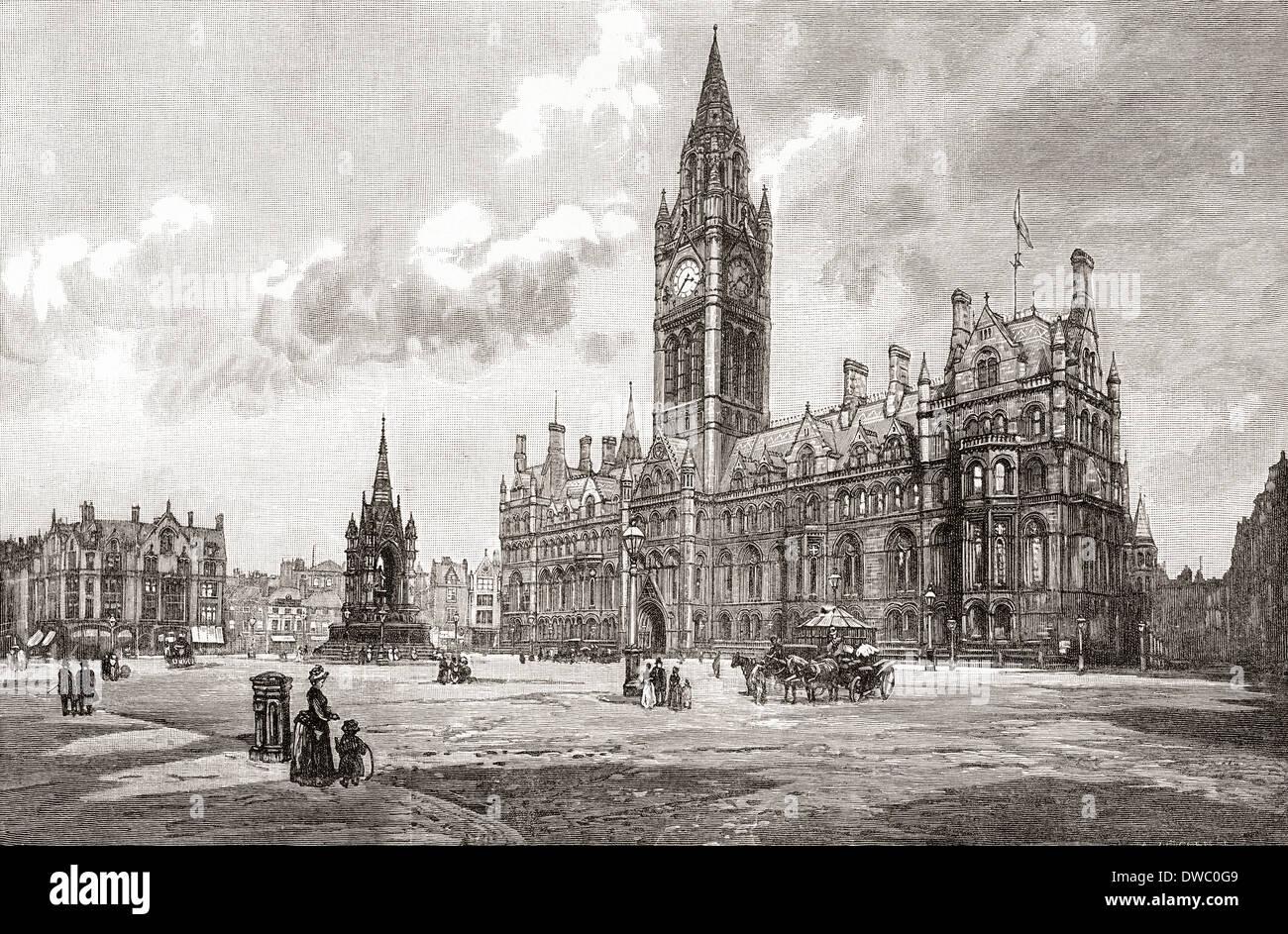 Hôtel de ville, place Albert, Manchester, Angleterre au xixe siècle. Photo Stock