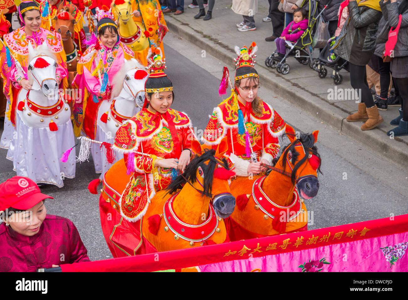 Année du cheval, Parade du Nouvel An Chinois, Vancouver, British Columbia, Canada Photo Stock