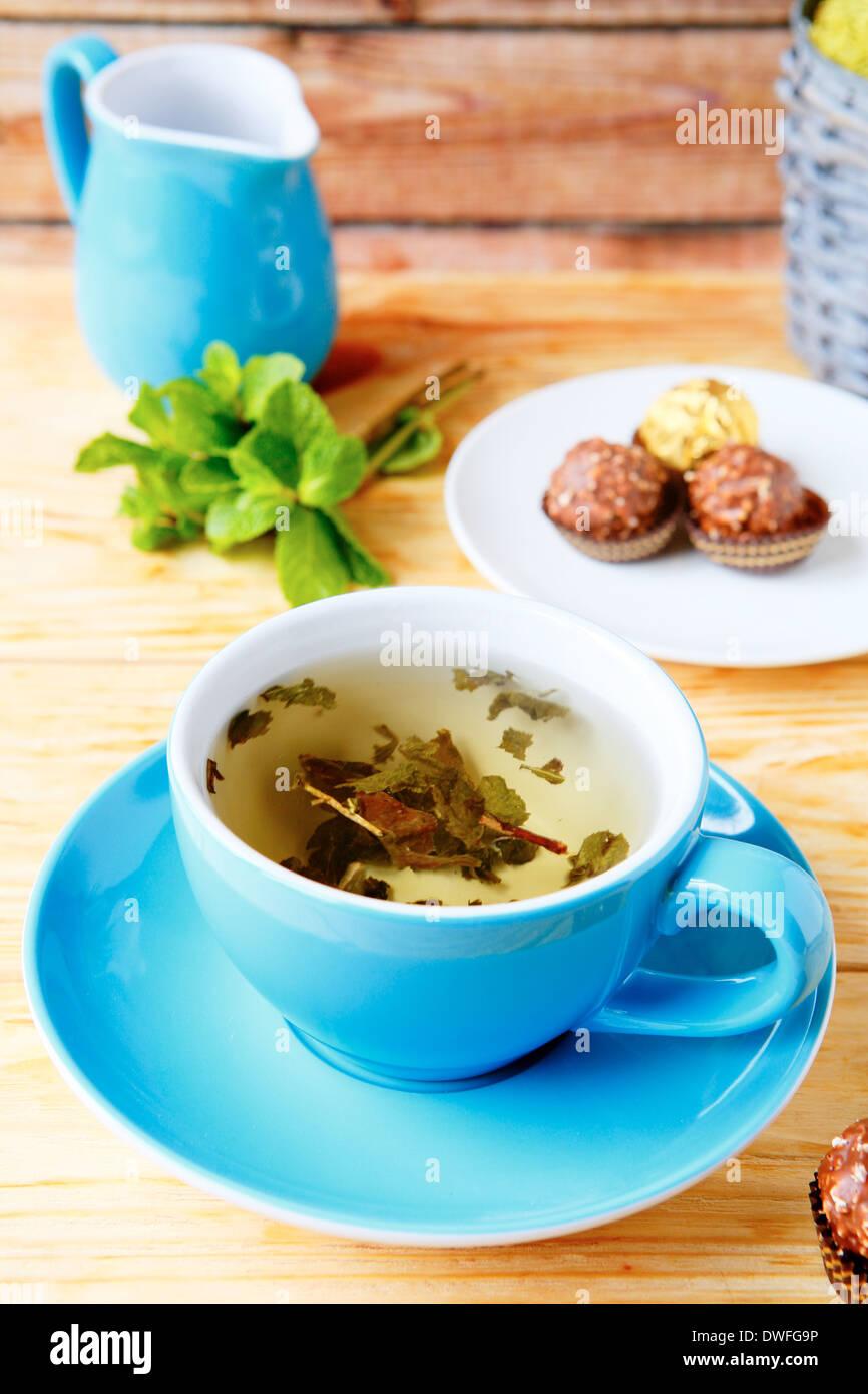 Tasse de thé vert, un antioxydant, boissons Photo Stock