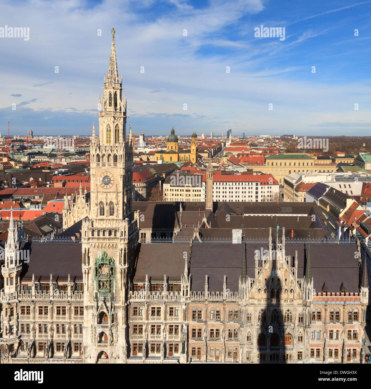 Munich, l'Hôtel de ville gothique sur la Marienplatz, Bavière, Allemagne Photo Stock