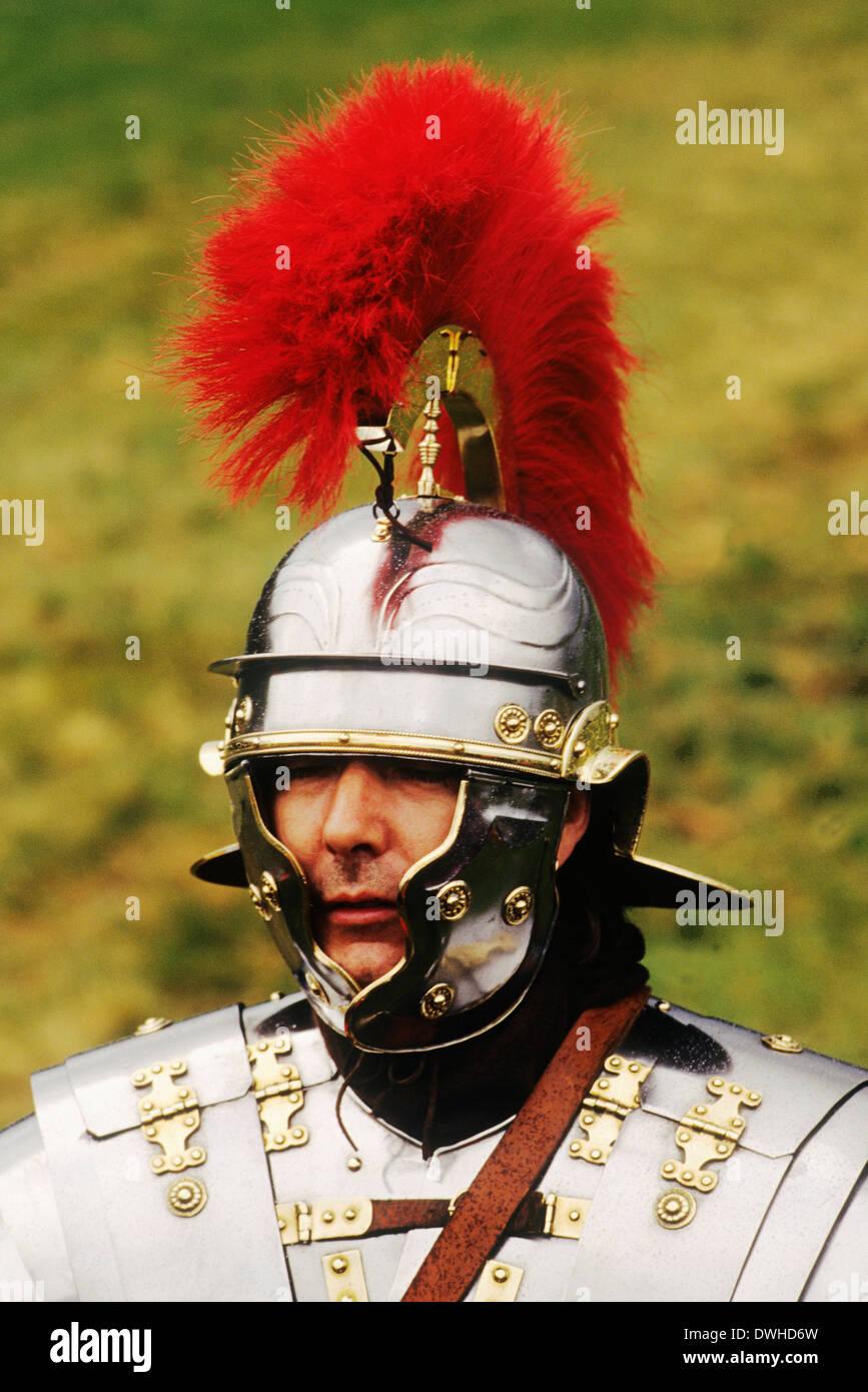 Centurion romain, 2e siècle, reconstitution historique des soldats soldat England UK Photo Stock
