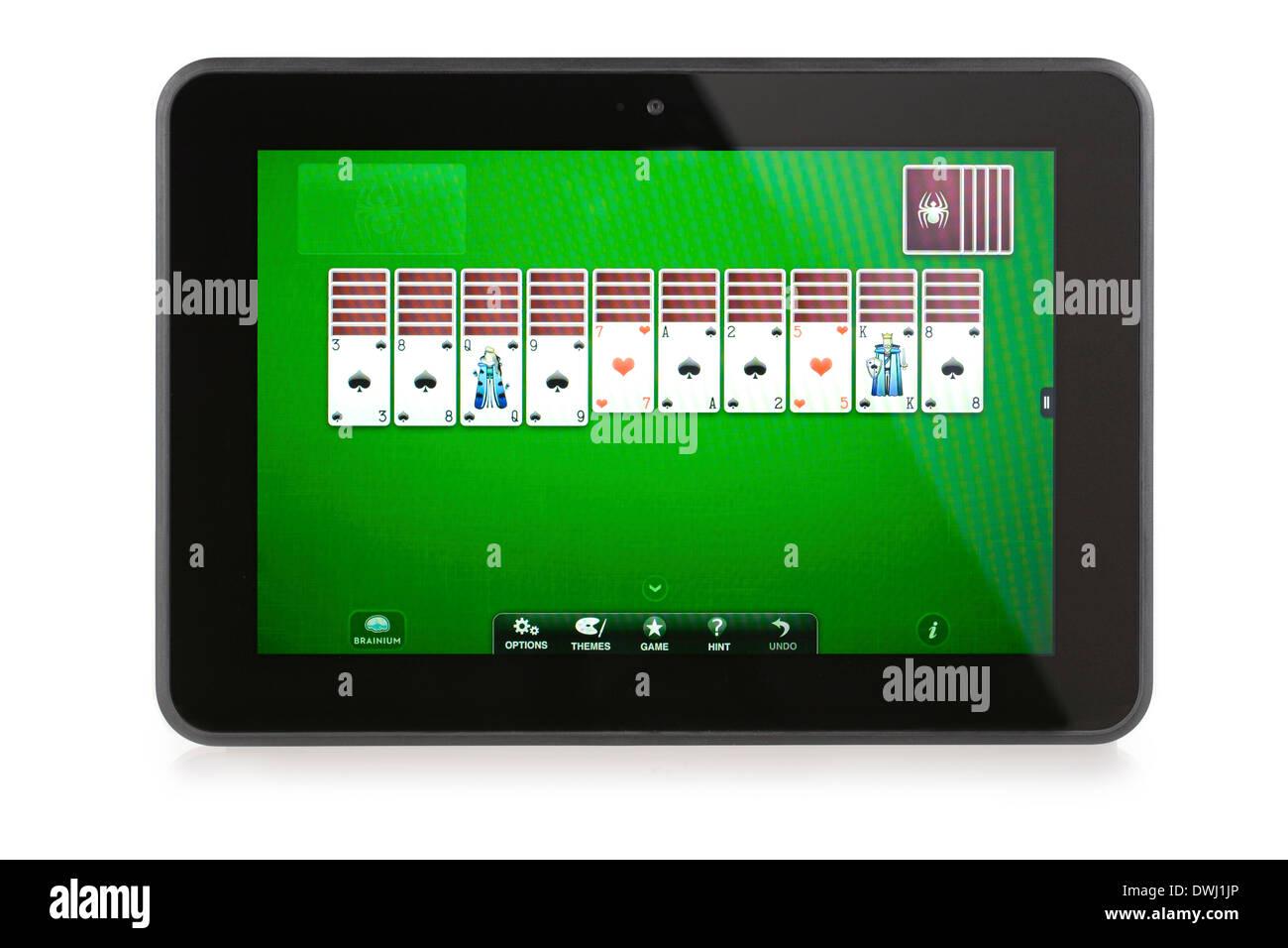Kindle Fire HD 8,9 avec application de jeu Spider Solitaire est installé et fonctionne correctement. Photo Stock