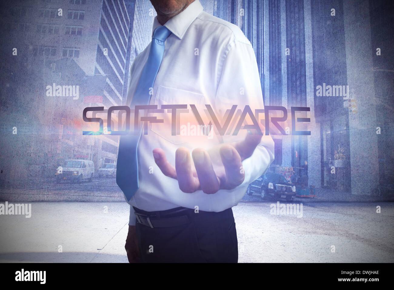 Le mot businessman presenting software Photo Stock