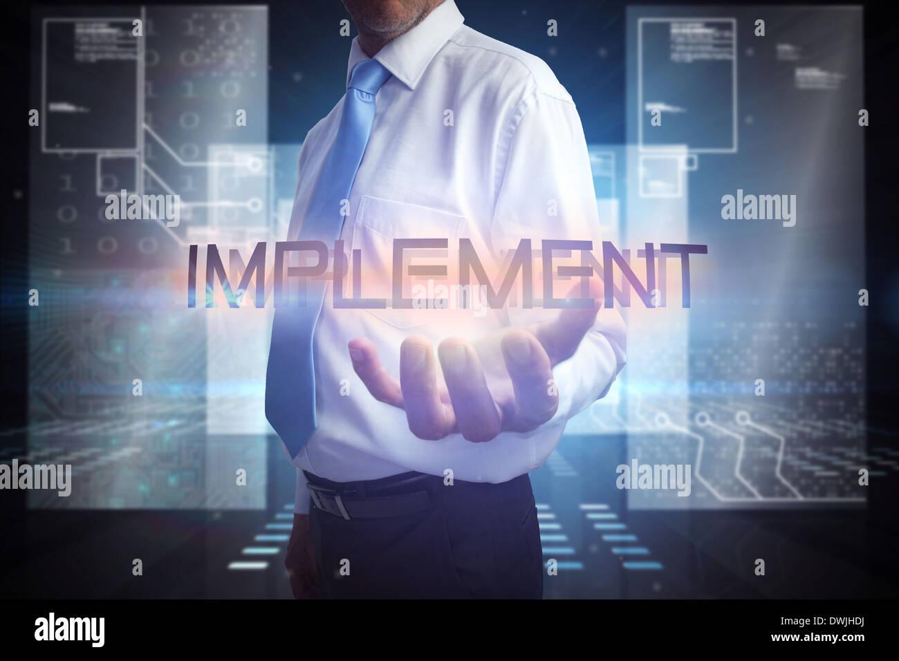 Businessman proposant la parole mettre en œuvre Photo Stock