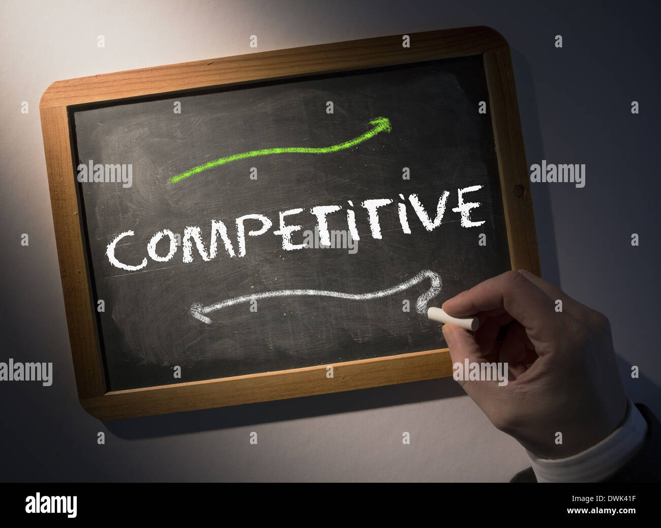 Hand writing on chalkboard concurrentiel Photo Stock