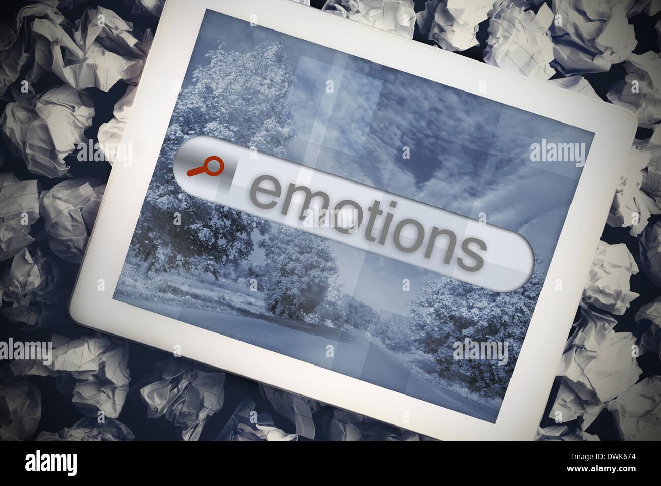 Les émotions dans la barre de recherche sur écran de tablette Photo Stock