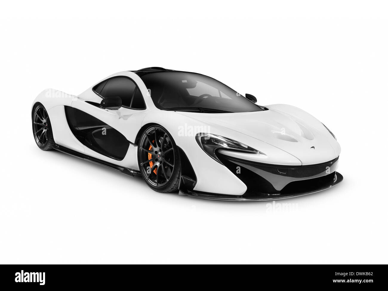 White 2014 McLaren P1 supercar hybride plug-in voiture sport isolé sur fond blanc Photo Stock
