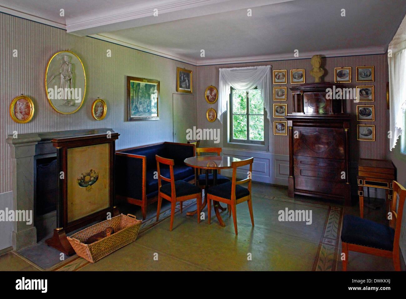 Weimar, Château Tiefurt, Göchhausen, la chambre en alcôve ...