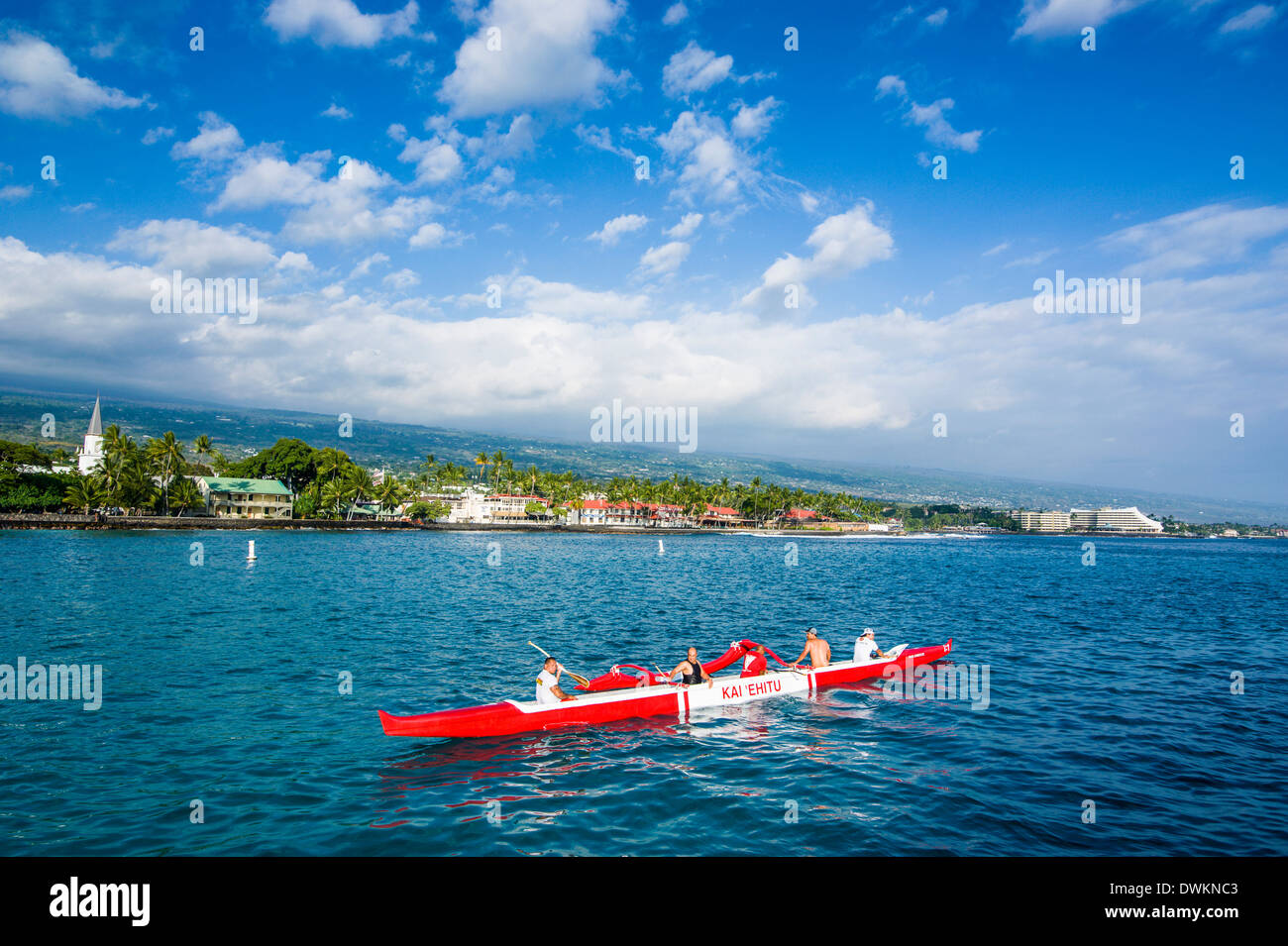 Les habitants travaillent dans leurs pirogues, Kailua-Kona, Big Island, Hawaii, États-Unis d'Amérique, du Pacifique Photo Stock
