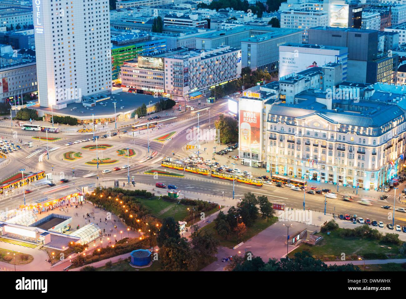 Vue sur la ville de palais de la Culture et des sciences, Varsovie, Pologne, Europe Photo Stock