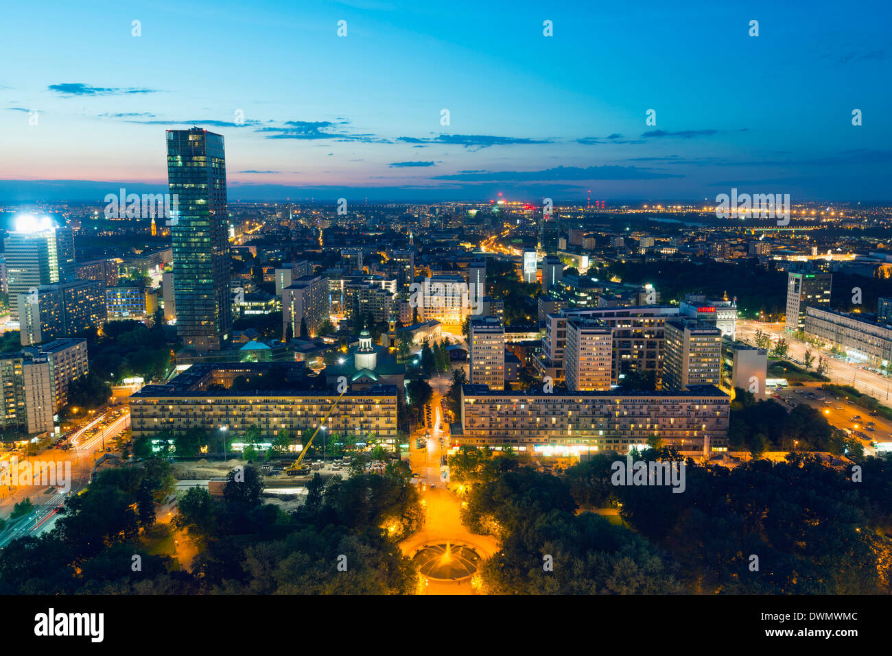 Vue sur la ville de palais de la Culture et des sciences, Varsovie, Pologne, Europe Photo Stock
