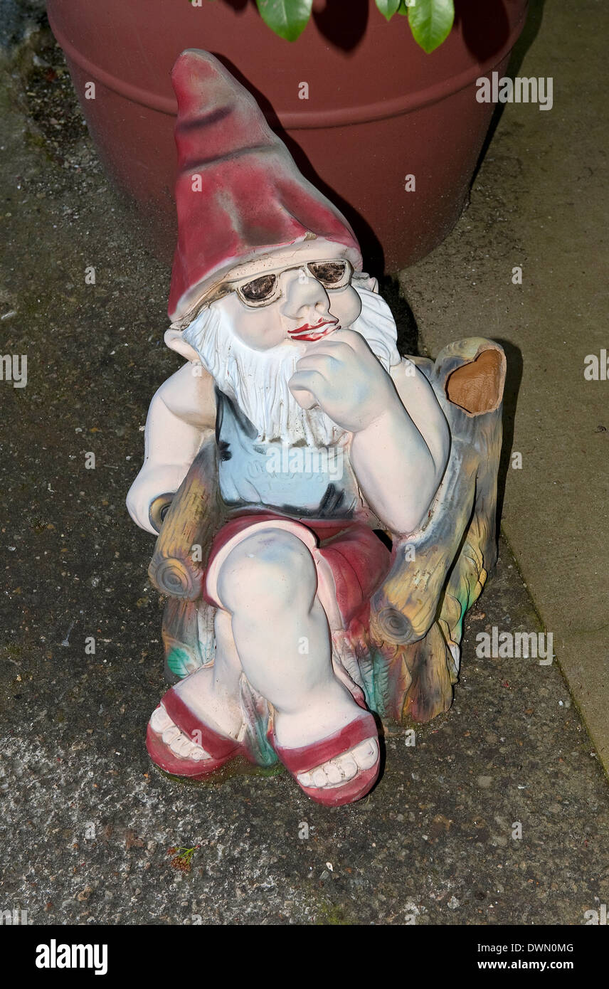 Paresseux, ambiance jardin gnome, Normandie, France Photo Stock