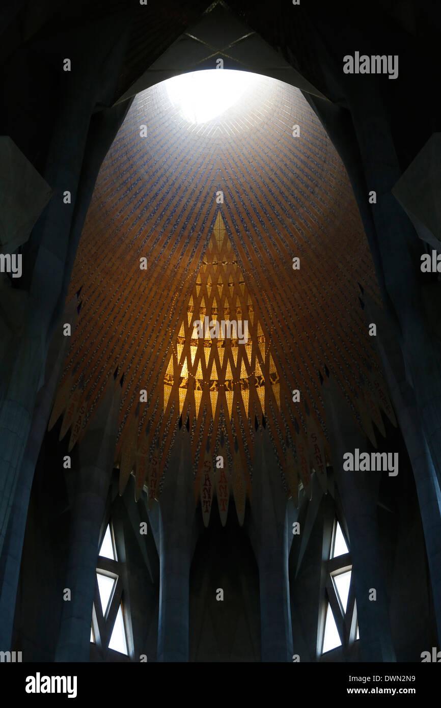 Puits de lumière, la Basilique de la Sagrada Familia, Barcelone, Catalogne, Espagne, Europe Photo Stock